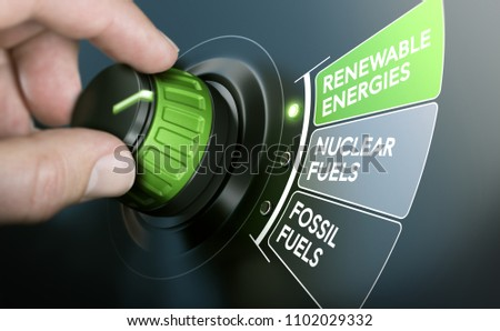 Man turning an energy transition button to switch from fossil fuels to renewable energies. Composite image between a hand photography and a 3D background. #1102029332