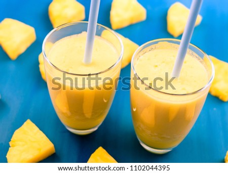 Fresh pineapple juice in the glass #1102044395