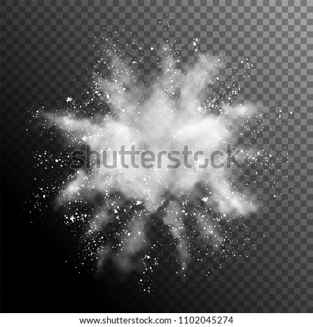 Explosion of white powder. Vector design elements Royalty-Free Stock Photo #1102045274