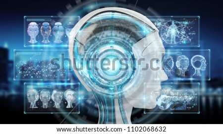 Digital artificial intelligence cyborg interface isolated on blue background 3D rendering #1102068632