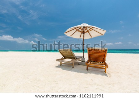 Landscape of paradise island tropical beach. Luxury design of tourism for summer vacation holiday destination concept. Beautiful beach scene #1102111991