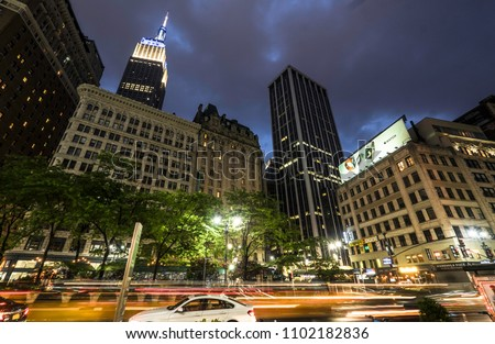 NEW YORK CITY, USA - JUNE 05 2016 - Night scene of the Empire State Building, a 102-story landmark and American cultural icon, New York City, USA #1102182836