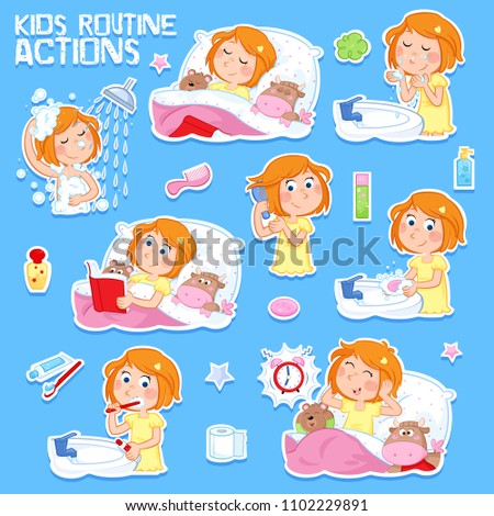 Daily routine of a cute little girl with ginger hair - Set of eight good morning and good night routine actions - Isolated - Blue background
