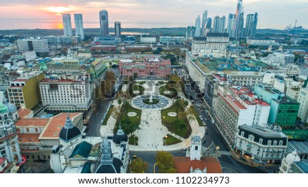 Aerial photo with drones. Plaza de Mayo (May square) in Buenos Aires, Argentina. It's the hub of the political life of Argentina. #1102234973