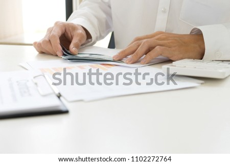 Business people worker or officer count the money cash salary bribe #1102272764