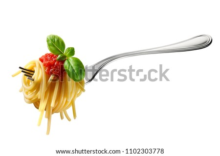 Appetizing spaghetti rolled on fork with typical Italian sauce #1102303778