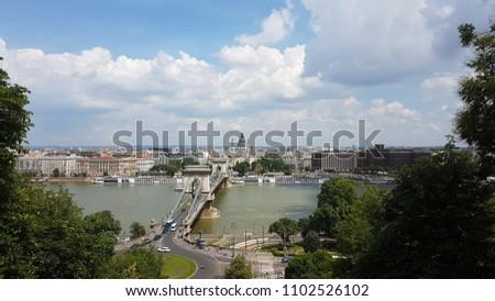 Chain bridge on Danube river in Budapest city. Hungary. Urban landscape panorama #1102526102