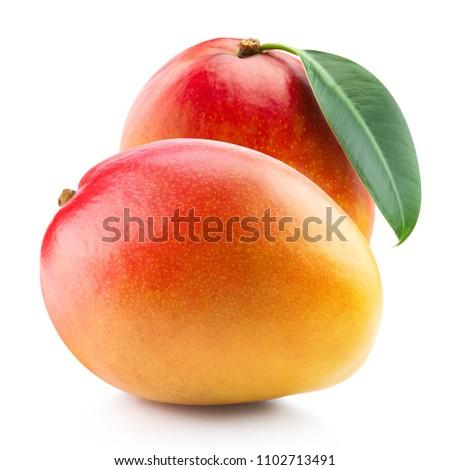 Mango fruit and leaf isolated on white background Clipping Path #1102713491