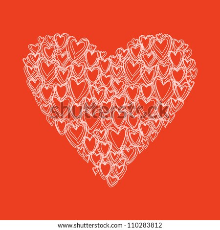 Vector heart made from small hearts of doodles. Red romantic hand drawn background. Original greeting and invitation card Valentines Day and wedding. Abstract illustration in pencil sketch style. #110283812