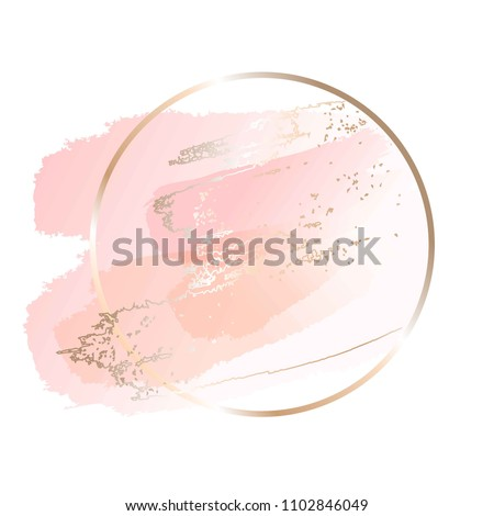 Pastel rose and pink brush strokes and gold lines. Gold round contour frame.