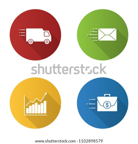 Motion flat design long shadow glyph icons set. Speed. Delivery van, mailing, growth chart, flying briefcase. Vector silhouette illustration