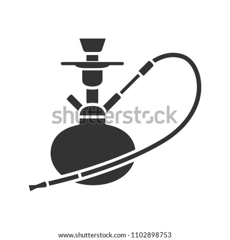 Hookah glyph icon. Nargile. Silhouette symbol. Negative space. Raster isolated illustration