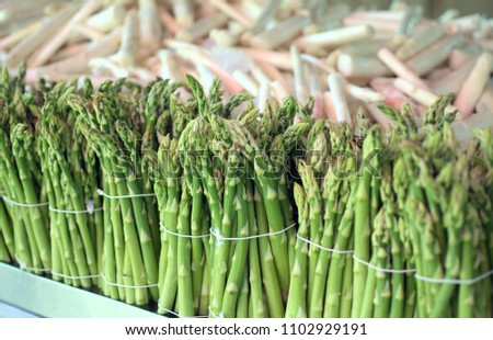 Bunches from fresh green asparagus from Beelitz (Germany) in a row and in front of white asparagus at a market stall #1102929191