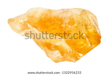 macro shooting of natural rock specimen - rough crystal of Citrine (yellow quartz) gemstone isolated on white background from Brazil #1102956233