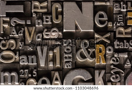 Metal Letterpress Types.  A background from many historical typography letters in black and white with white background.  #1103048696
