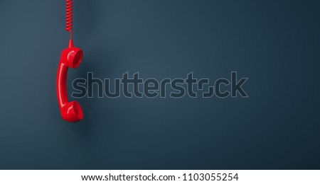 Shot of a landline telephone receiver with copy space for individual text Royalty-Free Stock Photo #1103055254
