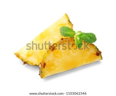Slices of fresh pineapple on white background #1103062346