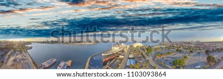 Amazing panoramic aerial view of Queen Mary, docked in Long Beach, California. #1103093864