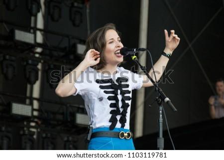 NAPA, CA - MAY 27, 2018: Alice Merton in concert at BottleRock Napa Valley in Napa CA #1103119781