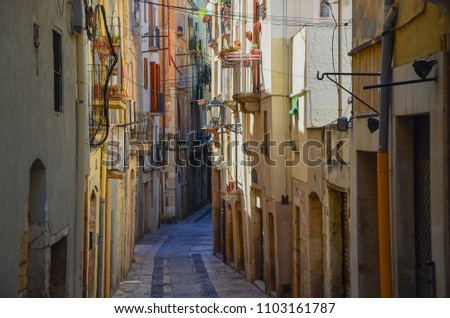 Beautiful old street in Spain, Tarragona #1103161787