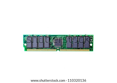 Photo of DDR RAM memory module isolated on white background #110320136