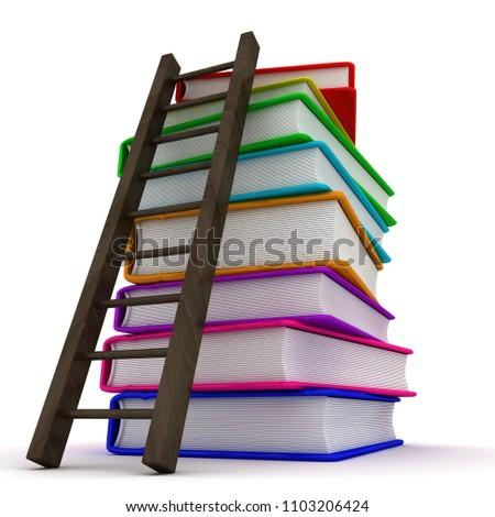 Stack of colorful books. 3d image renderer