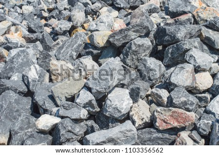 rock background,gray stone, Pile of Rocks Boulders for Construction.Both small and large.  #1103356562