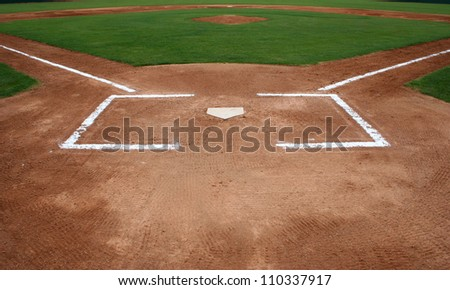 Baseball Infield at Home Plate Royalty-Free Stock Photo #110337917