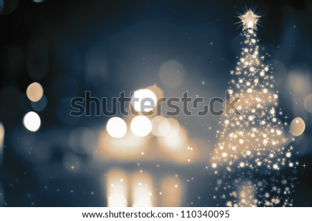 Shinny Christmas Tree, abstract background