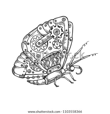 Mechanical butterfly animal engraving vector illustration. Scratch board style imitation. Black and white hand drawn image.
