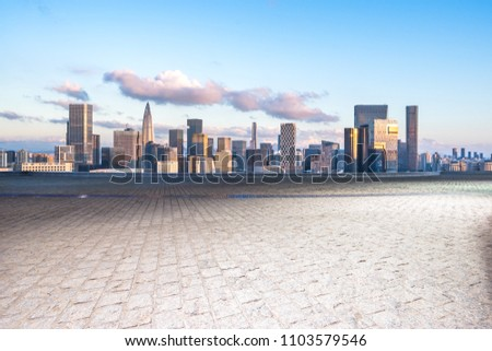 city skyline with empty square in shenzhen china #1103579546