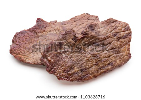 Grilled bio beef steaks with spices isolated on white background. #1103628716