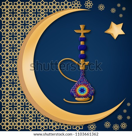 Traditional turkish ceramic blue hookah with oriental decoration, moon, and star on dark blue background. Travel Turkey greeting card template. Cartoon vector illustration in flat style. #1103661362