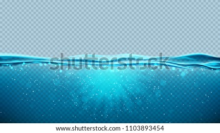 Transparent underwater blue ocean background. Vector illustration with deep underwater sea scene. Banner with with horizon water surface. Royalty-Free Stock Photo #1103893454