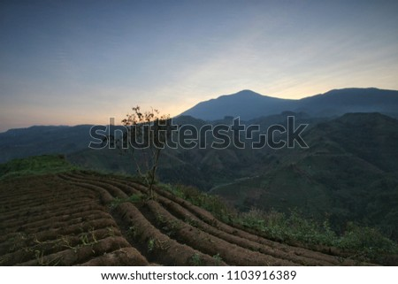 a beautiful morning from altitude in Majalengka, West Java, Indonesia. Landscape #1103916389