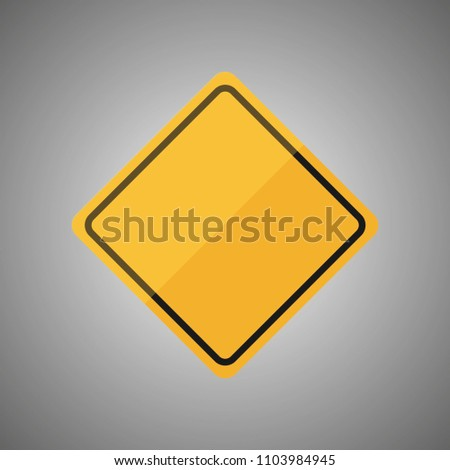 Blank yellow road sign or Empty traffic signs isolated on gray background. Vector illustration EPS 10. #1103984945