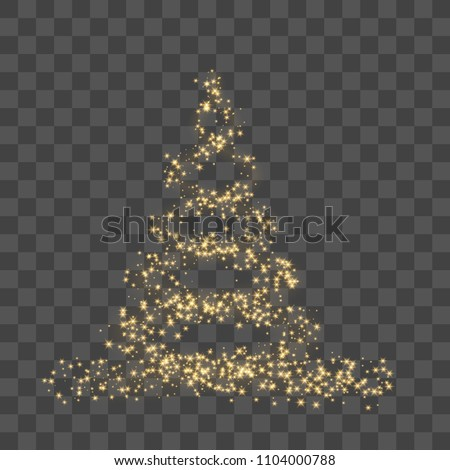 Christmas tree on transparent background. Gold Christmas tree as symbol of Happy New Year, Merry Christmas holiday celebration. Golden light decoration. Bright shiny design Vector illustration #1104000788