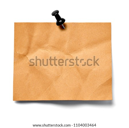 close up of a note paper on white background #1104003464