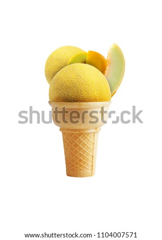 Delicious real melon ice cream in cone with white background.
