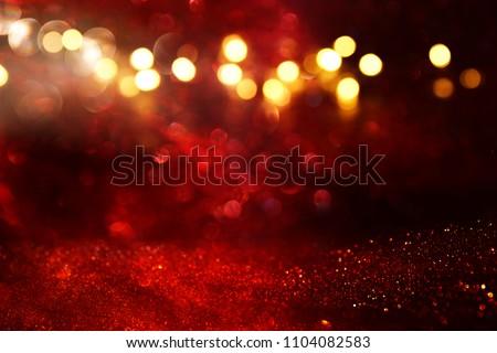 Red glitter vintage lights background. defocused #1104082583