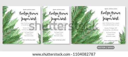 Wedding invite invitation menu card vector floral greenery design: sago palm green leaves foliage greenery frame pattern. Postcard, poster label. Watercolor elegant hand drawn set #1104082787