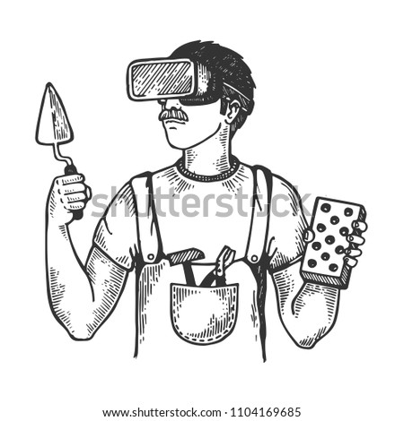 Builder in virtual reality helmet engraving raster illustration. Scratch board style imitation. Black and white hand drawn image.