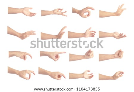 hand collection in gestures with white skin isolated on white background #1104173855