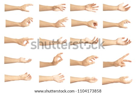 hand collection in gestures with white skin isolated on white background #1104173858