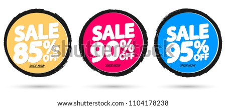 Set Sale tags, discount banners design template, app icons, vector illustration #1104178238