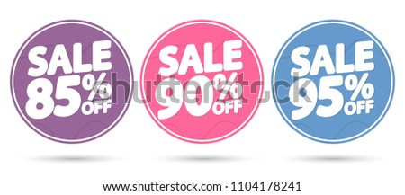 Set Sale tags, discount banners design template, app icons, vector illustration #1104178241