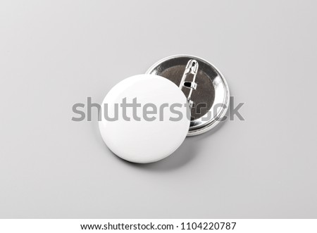 Photo of badge. Template for branding identity. For graphic designers presentations and portfolios. Badge Mock-up isolated on gray background. Photo mock up. #1104220787