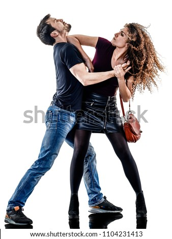 one caucasian woman victim of a thief aggression self defense isolated on white background #1104231413