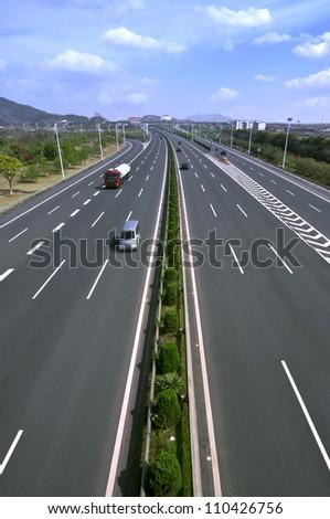 highway traffic (motion blurred image, color toned image) #110426756