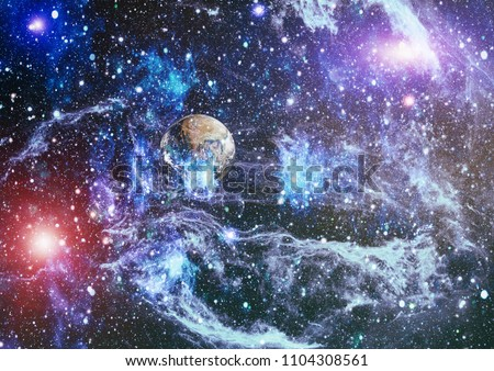 The explosion supernova. Bright Star Nebula. Distant galaxy. Abstract image. Elements of this image furnished by NASA. #1104308561